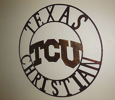 "36"" TCU TEXAS CHRISTIAN METAL ART WESTERN HOME WALL DECOR NEW BRONZE LARGE SIZE"