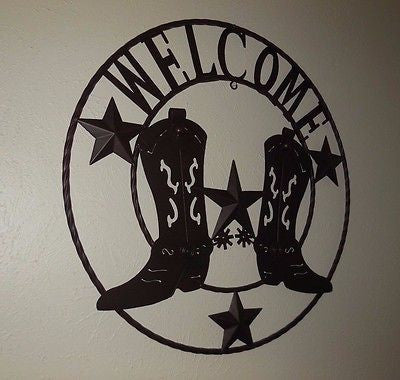 "24"" WELCOME COWBOY COWGIRL BOOT STARS METAL WALL WESTERN HOME DECOR NEW"