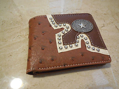 MEN'S BI FOLD GENUINE LEATHER WALLET STUDDED LONE STAR WALLET WESTERN FASHION ART