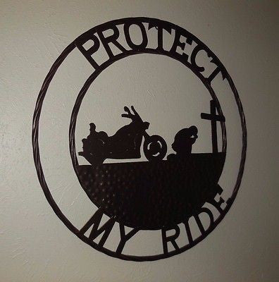 "24"" MOTORCYCLE PROTECT MY RIDE COWBOYS CHURCH METAL WESTERN HOME DECOR NEW"