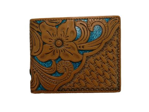 WESTERN GENUINE BI FOLD LEATHER MEN'S SHORT WALLET TURQUOISE/TAN NEW
