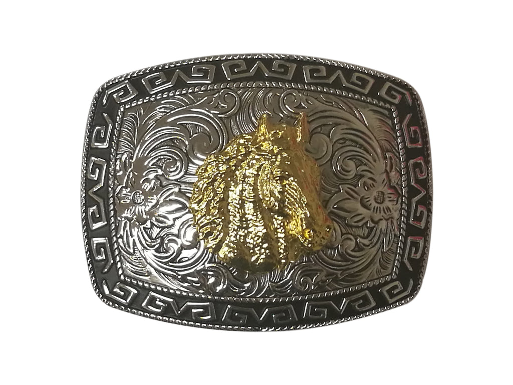 HORSE HEAD BELT BUCKLE WESTERN FASHION ART-#3278-12-S BLACK-BRAND NEW- FREE SHIPPING