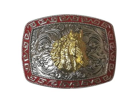 HORSE HEAD BELT BUCKLE WESTERN FASHION ART-#3278-12-S RED-BRAND NEW- FREE SHIPPING