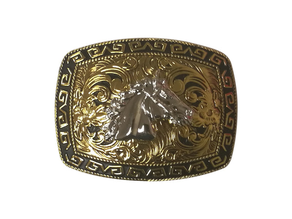 HORSE HEAD BELT BUCKLE WESTERN FASHION ART-#3278-2-G BLACK-BRAND NEW- FREE SHIPPING