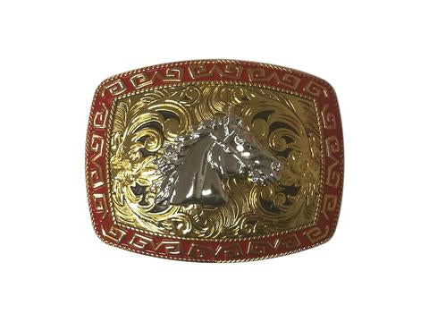 HORSE HEAD BELT BUCKLE WESTERN FASHION ART-#3278-2-G RED-BRAND NEW- FREE SHIPPING