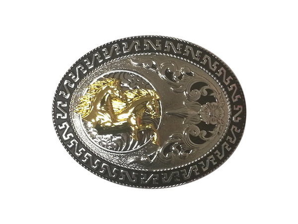 DOUBLE HORSE BELT BUCKLE WESTERN FASHION ART Item#3285-6-WS BLACK-BRAND NEW