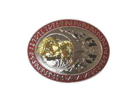 DOUBLE HORSE BELT BUCKLE WESTERN FASHION ART-#3285-6 RED-BRAND NEW