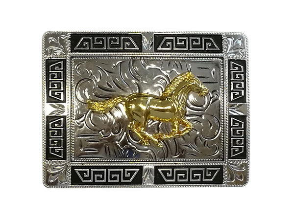 HORSE BELT BUCKLE WESTERN FASHION ART-#3291-15-S BLACK-BRAND NEW