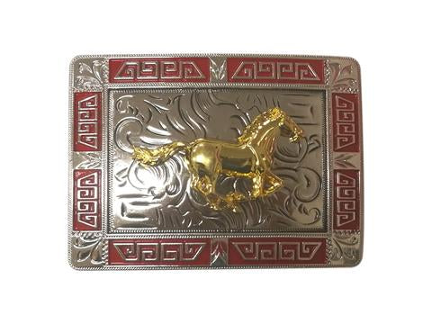 HORSE BELT BUCKLE WESTERN FASHION ART-#3291-15-S RED-BRAND NEW
