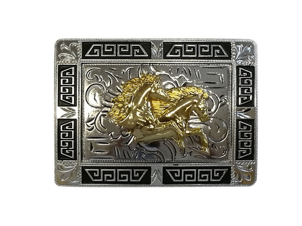 DOUBLE HORSE BELT BUCKLE WESTERN FASHION ART Item#3291-6-WS BLACK-BRAND NEW