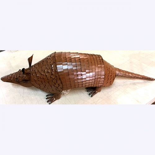 "23"" ARMADILLO GARDEN SCULPTURE METAL DECOR ORNAMENT OUTDOOR OR INDOOR TEXAS YARD ART"