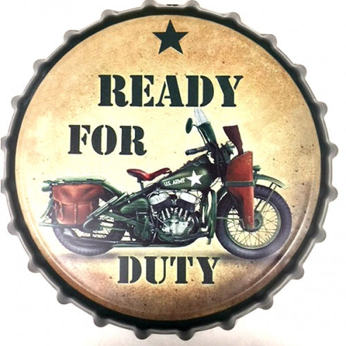 READY FOR DUTY BOTTLE CAP TIN SIGN METAL ART WESTERN HOME DECOR CRAFT