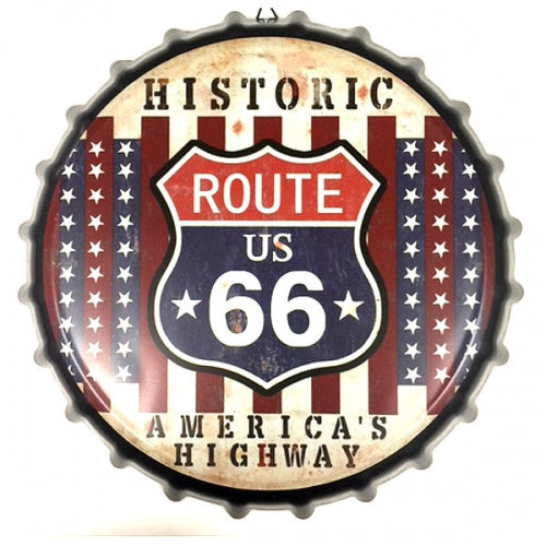 HISTORIC ROUTE 66 BOTTLE CAP TIN SIGN METAL ART WESTERN HOME DECOR CRAFT