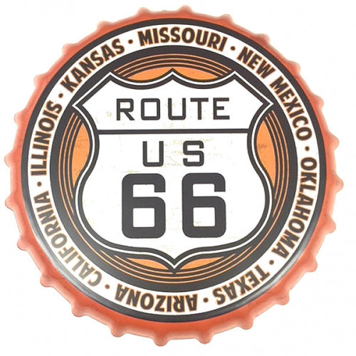 ROUTE 66 BOTTLE CAP TIN SIGN METAL ART WESTERN HOME DECOR CRAFT