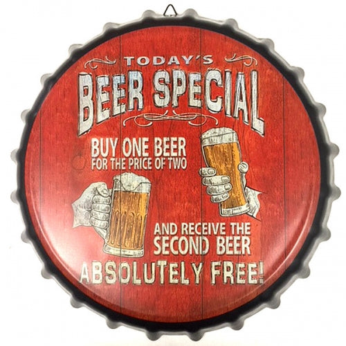 BEER SPECIAL BOTTLE CAP TIN SIGN METAL ART WESTERN HOME DECOR CRAFT