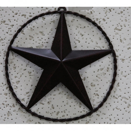 "5""LONESTAR BARN STAR TWISTED ROPE RING METAL ART WESTERN HOME DECOR VINTAGE RUSTIC BRONZE ART NEW"