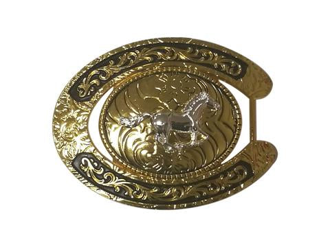 HORSE BELT BUCKLE WESTERN FASHION ART Item#6230-15-G BLACK_WS BRAND NEW