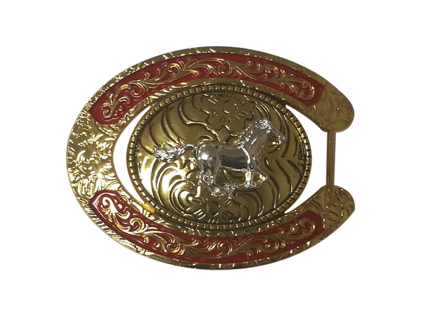HORSE BELT BUCKLE WESTERN FASHION ART-#6230-15-G RED-BRAND NEW