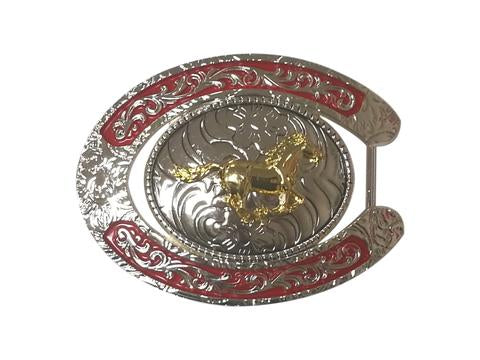 HORSE BELT BUCKLE WESTERN FASHION ART-#6230-15-S RED-BRAND NEW- FREE SHIPPING