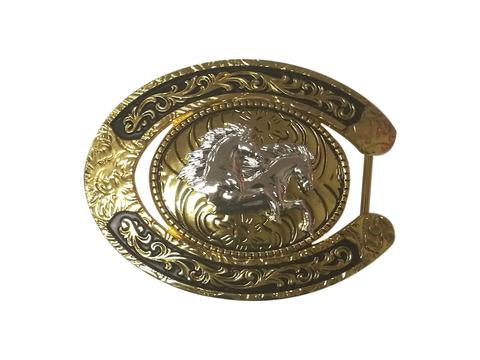 DOUBLE HORSE BELT BUCKLE WESTERN FASHION ART Item#6230-6-G-WS BLACK-BRAND NEW