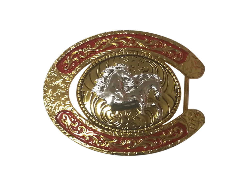 DOUBLE HORSE BELT BUCKLE WESTERN FASHION ART Item#6230-6-G-RED_WS BRAND NEW