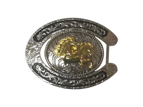 DOUBLE HORSE BELT BUCKLE WESTERN FASHION ART-#6230-6-S BLACK-BRAND NEW