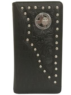 WESTERN STATE OF TEXAS CHECKBOOK BI FOLD MEN'S & WOMEN'S GENUINE LEATHER BLACK WALLET
