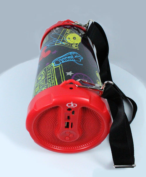 Portable Bluetooth Bazooka Drum Speaker with Belt FM Noise reduction Super bass-A17-B49UF-RB-FREE SHIPPING