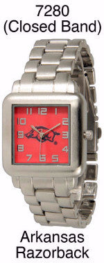 ARKANSAS RAZORBACKS LICENSED STAINLESS STEEL WATCH WESTERN FASHION BRAND NEW: Item# 7280-- Free Shipping