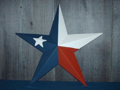 "12"",16"",24"",32"",36"" RED WHITE & BLUE FLAG METAL BARN STAR METAL WALL ART WESTERN HOME DECOR VINTAGE RUSTIC ART NEW"