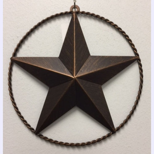 "9"" LONE STAR BARN STAR TWISTED ROPE RING METAL ART WESTERN HOME DECOR VINTAGE RUSTIC BRONZE ART NEW"