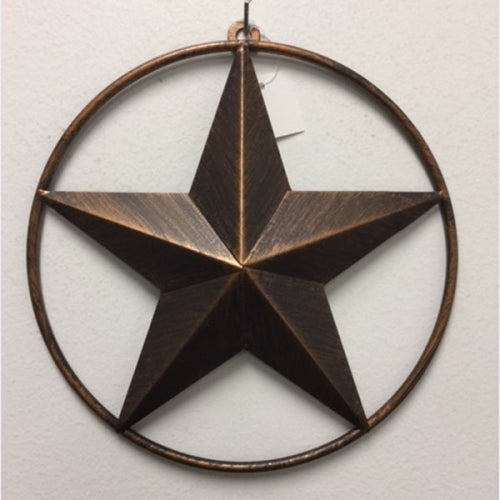 "3"",4"", 5"", 6"", 9"", 12"" LONE STAR WITH SOLD RING BARN METAL STAR WESTERN HOME DECOR METAL WALL ART VINTAGE RUSTIC DARK BRONZE COPPER BRAND NEW -- FREE SHIPPING"