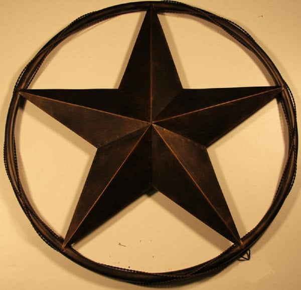 "24"" BARN STAR WITH SOLID RING & TWISTED BARB WIRE METAL WALL ART WESTERN HOME DECOR RUSTIC BRONZE COPPER - A10024"