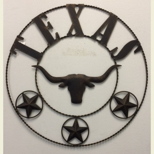 "21"" TEXAS LONGHORNS METAL WALL ART WESTERN HOME DECOR NEW Item#A13021-- FREE SHIPPING"