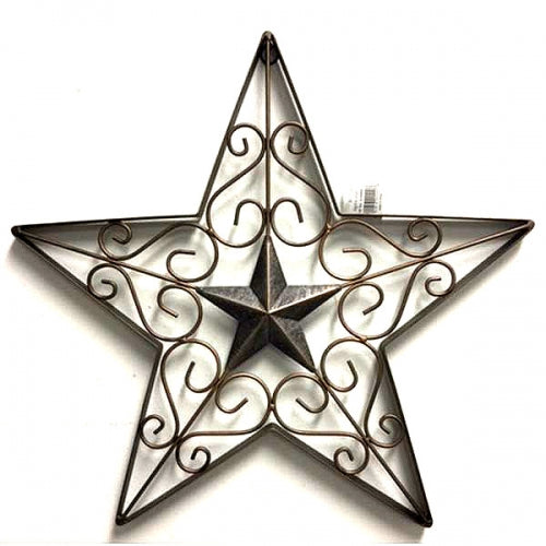 "17"" Barn Fancy Star Metal Wall Art Western Home Decor Vintage Rustic Bronze Copper Art New-#A18002- Free Shipping"