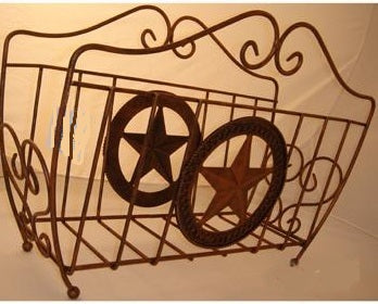 "16"" STAR MAGAZINE HOLDER WESTERN HOME DECOR METAL NEW ART--FREE SHIPPING"