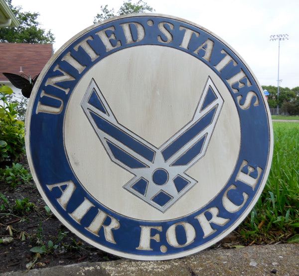 "21"" UNITED STATES AIR FORCE MILITARY HAND CARVED WOOD PLAQUE ART CRAFT WESTERN HOME DECOR RUSTIC HANDMADE ART NEW"
