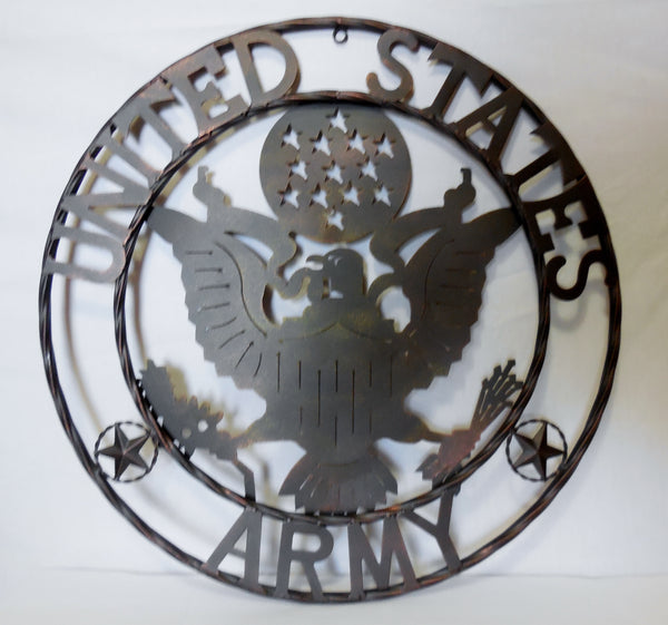 "24"" USA ARMY MILITARY METAL WALL ART DECOR VINTAGE RUSTIC BRONZE WESTERN HOME DECOR NEW"