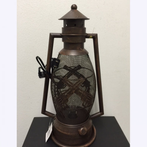 GUNS METAL ART ELECTRIC LANTERN LAMP WESTERN HOME WALL DECOR BRAND NEW LIGHTING