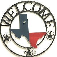 "24"" Welcome State of Texas Map Welcome Metal Wall Art Western Home Decor Vintage Rustic Red White & Blue Flag Art new-#B8301"