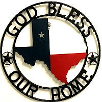 "24""God Bless Our Home State of Texas Map Welcome Metal Wall Art Western Home Decor Vintage Rustic Red White & Blue Flag Art new-#B8302"