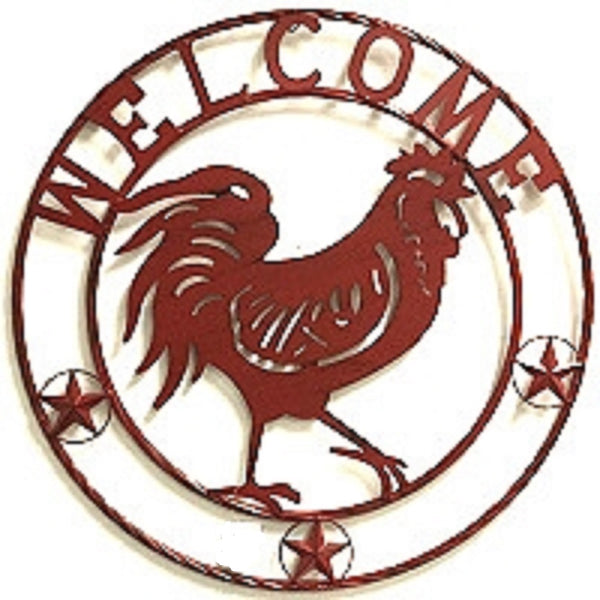 "24"" ROOSTER WELCOME WITH RING DESIGN WESTERN METAL ART HOME WALL DECOR BRAND NEW"