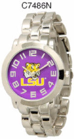 LSU TIGERS LOUISIANA STATE Licensed Stainless Steel Watch - Men, Item# C7486N