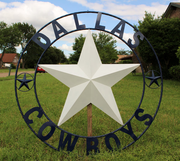 "50"" DALLAS COWBOYS DECOR METAL LONE STAR ART WESTERN HOME WALL DECOR RUSTIC VINTAGE BLUE & WHITE STAR LARGE TEXAS GIANT SIZE STAR NEW"
