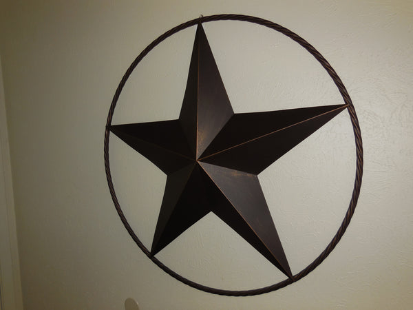"16"" LONE STAR BARN STAR TWISTED ROPE RING METAL ART WESTERN HOME DECOR VINTAGE RUSTIC BRONZE ART NEW-- FREE SHIPPING"