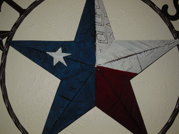 "24"", 32"" TEXAS LICENSE PLATE FLAG BARN STAR METAL WALL WESTERN HOME DECOR SIZES 24"", 32"" NEW"