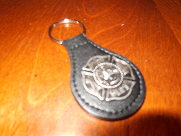 FIRE DEPT. LEATHER METAL CONCHO KEY FOB CHAIN WESTERN FASHION ART BRAND NEW