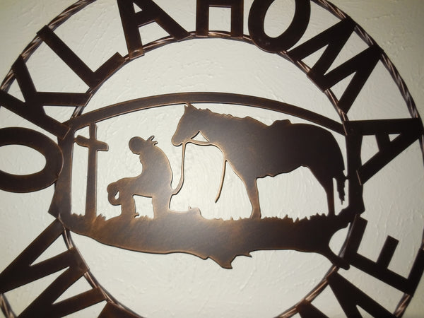 "18"" OKLAHOMA WELCOME SIGN METAL WALL ART WESTERN HOME DECOR NEW Item# A15204--Free Shipping"