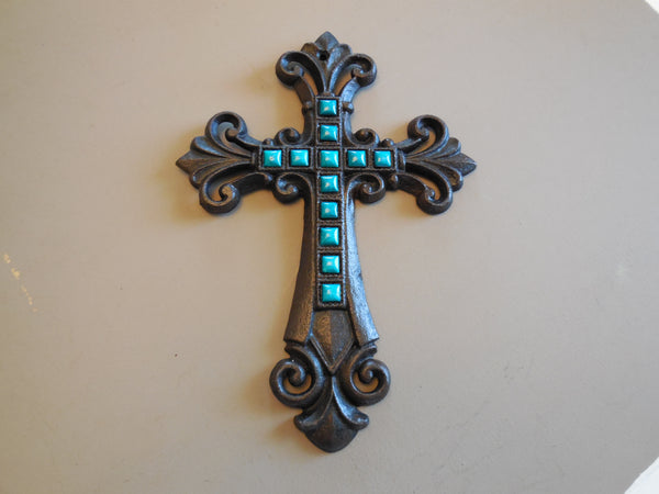 Turquoise Fleur De Lis Cast Iron Decorative Wall Cross Rustic Brown Decor #56367-T
