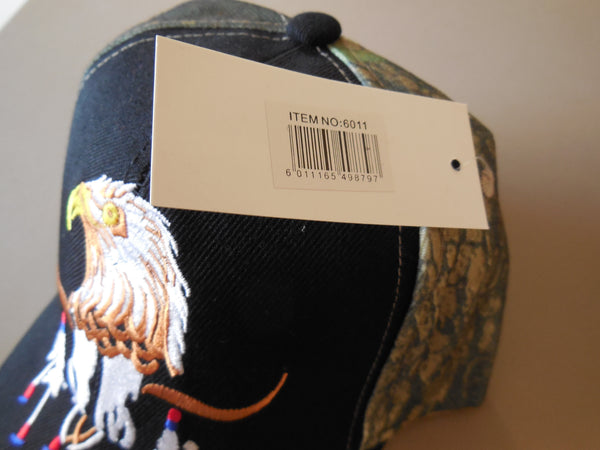 BALD EAGLE LONGHORN VINTAGE BASEBALL CAP - Dark or Black/Camo with large bald eagle/Longhorn Embroidered, Brand New
